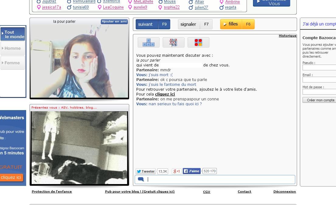 Bazoocam Chat pour Discuter au hasard avec des gens du